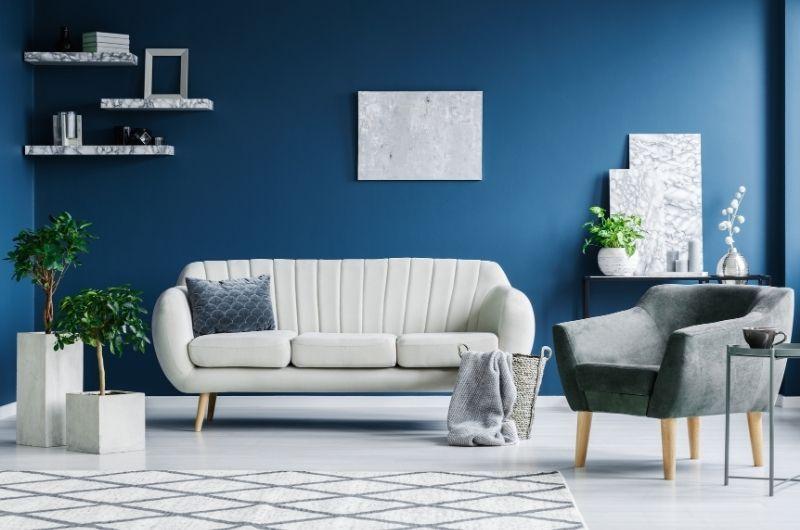 σαλόνι σε μπλε και γκρι αποχρώσεις