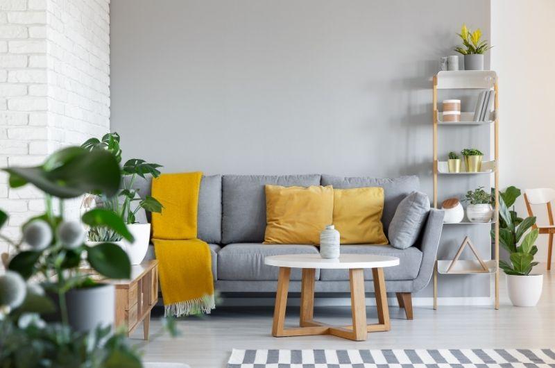 καναπές σε σαλόνι